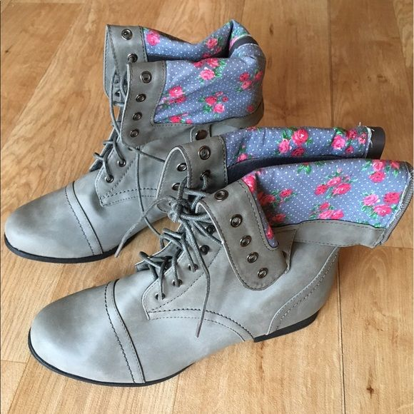 I just added this to my closet on Poshmark: Size 8 gray/ floral combat boots. Wet SealNWT.  Size: 8