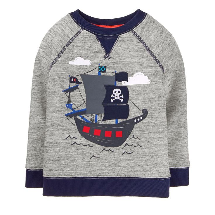 Toddler Boy Heather Grey Pirate Ship Pullover by Gymboree