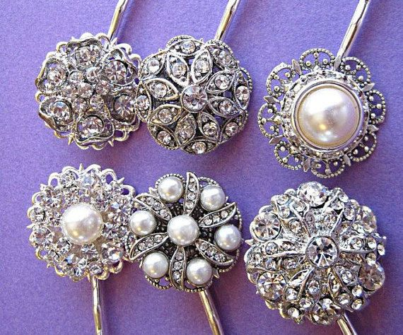 Choose 5 Wedding Hair Pins Bridesmaid Bobby Pin Pearl Clip Crystal Set Rhinestone Pinterest Hairstyles