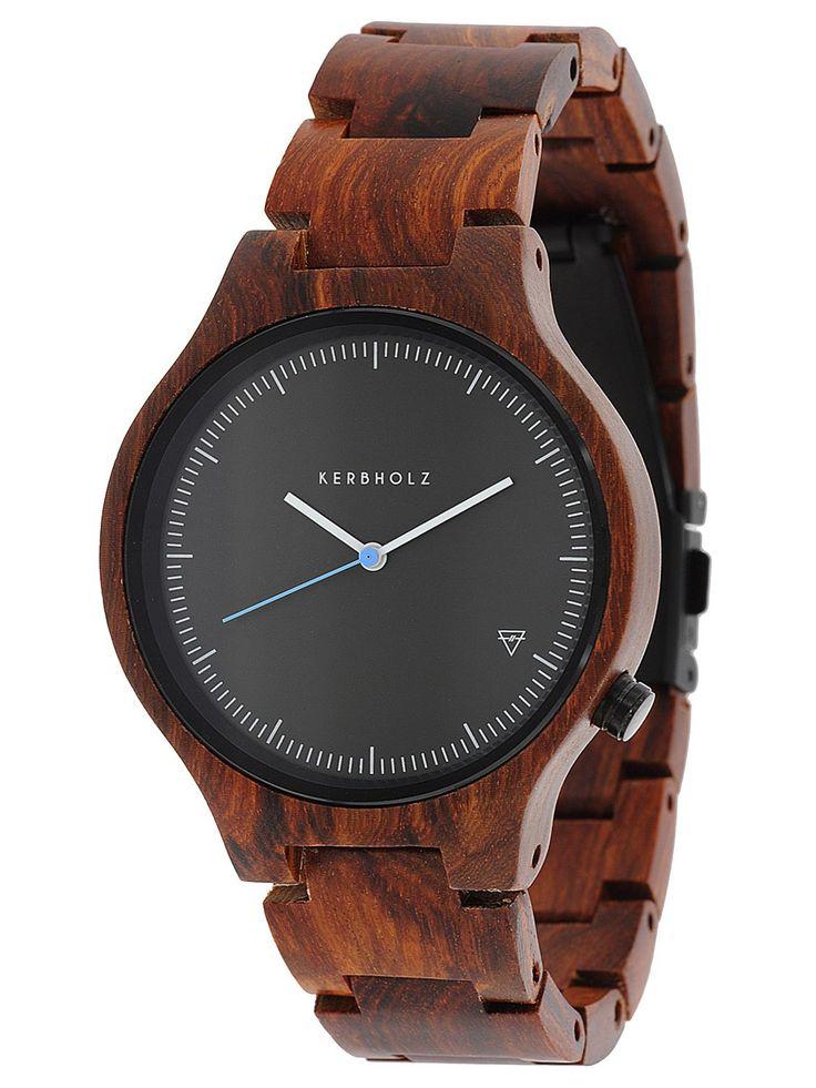 Kerbholz Lamprecht Rosenholz Holz-Armbanduhr