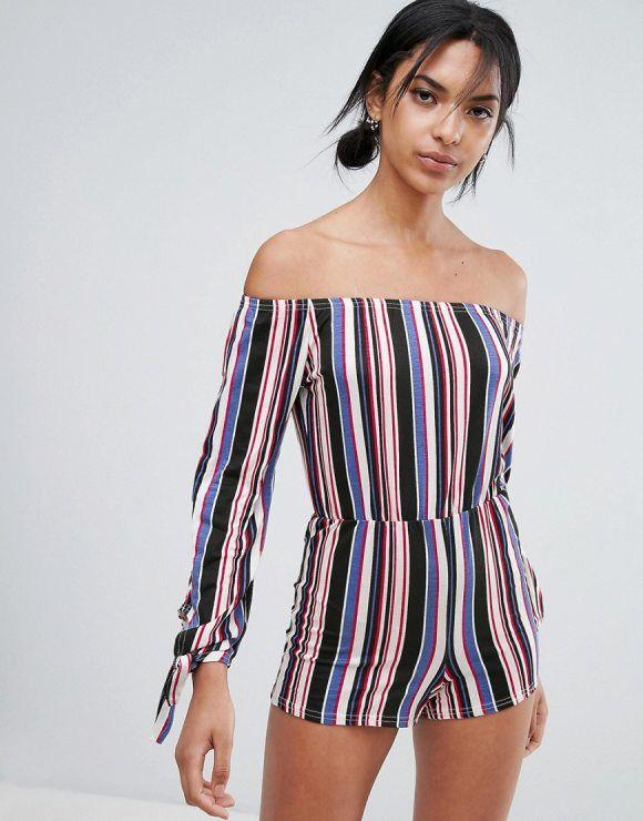 On SALE at 37.00% OFF! Off The Shoulder Stripe Romper by Daisy Street. Romper by Daisy Street, Stretch jersey, Bardot neck, Off-shoulder design, Vertical striped print, Regular fit - true ...