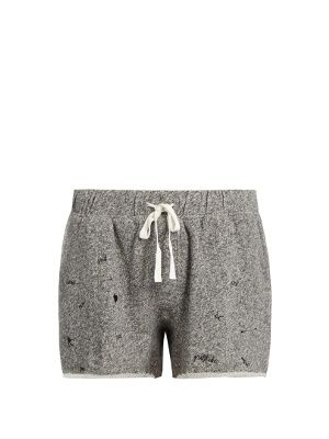 Upgrade your workout wardrobe with The Upside's grey Maui shorts. They're crafted from a cotton-blend jersey, and finished with raw hems and black embroidered motifs – note the birds, hearts, and 'Peace' slogan. Use the adjustable waistband to find your perfect fit, and style with a T-shirt and trainers for your next gym trip.