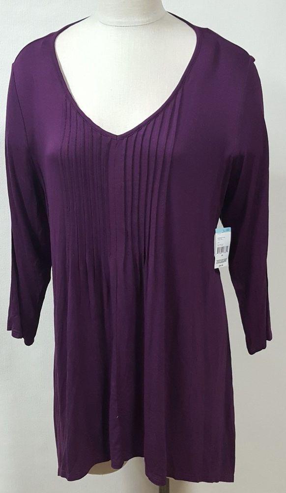 61e60016802 Simply Emma Purple Pintuck Tunic Shirt Handkerchief Hem 3 4 Sleeve Casual   SimplyEmma  Tunic  Casual