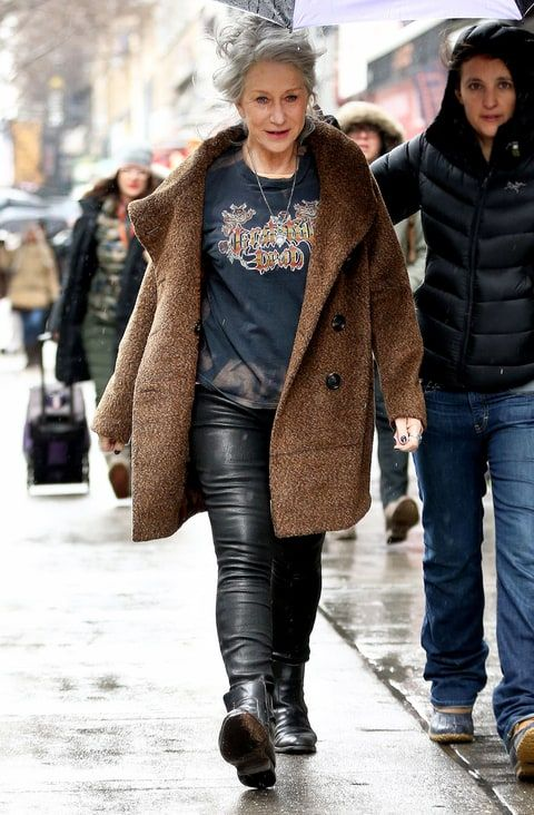 Helen Mirren knows how to do rocker fashion right! With a band tee and leather pants.