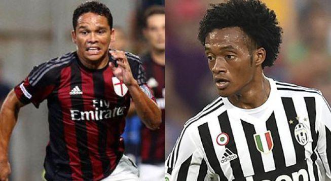 Este sábado se enfrentarán los jugadores colombianos por la fecha 13 del Calcio. Zapata, el defensa del Milan, será suplente. Bacca vs Cuadrado. Noviembre 20, 2015.