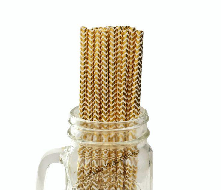 25 x Gold Foil Chevron Zig Zag Paper Straws Wedding Party Event Drinking Straw