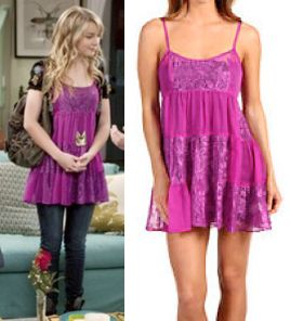 "Teddy Duncan (Bridgit Mendler) wears a Free People Chiffon And Lace Tiered Ruffle Slip in the color Pink in Good Luck Charlie Season 2 Episode 10 ""Meet The Parents."""