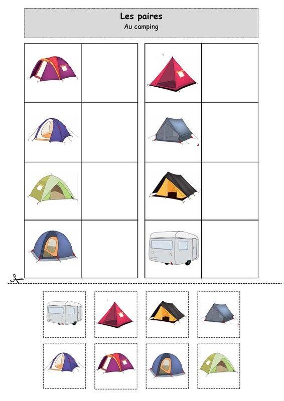 Fiche d'activité niveau maternelle de type association : les paires sur le thème de l'été et du camping