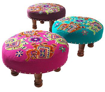 Elephant footstool with multi embroidery