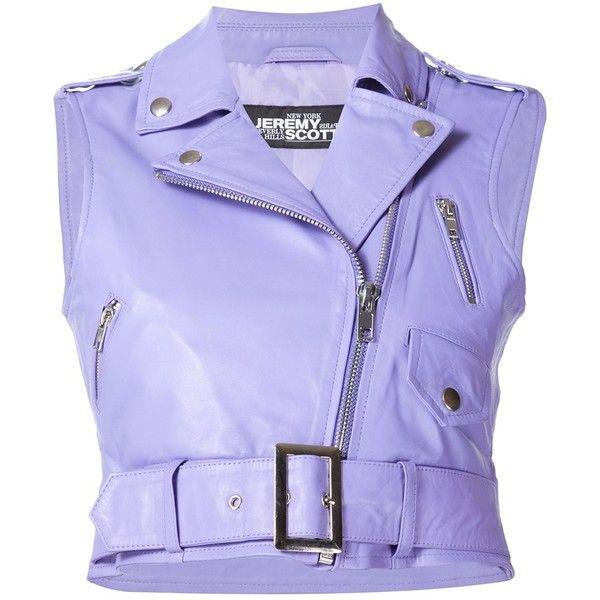 Jeremy Scott leather biker vest ($485) ❤ liked on Polyvore featuring outerwear, vests, purple vest, biker vest, vest waistcoat, leather vest and leather waistcoat