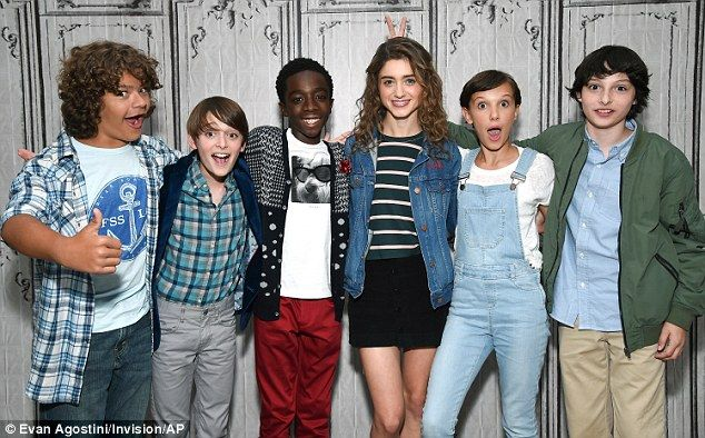 Budding talent: The young cast from Stranger Things - (L-R) Gaten Matarazzo, 13, Noah Schnapp, 11, Caleb McLaughlin, 12, Natalia Dyer, 19, Millie Bobby Brown, 12, and Finn Wolfhard, 13 - visited theAOL Build Speaker Series on Wednesday