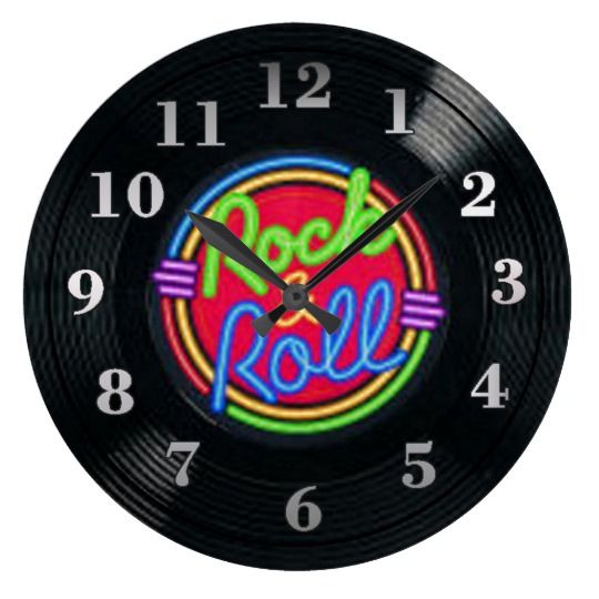 Rock and Roll Vintage Vinyl Record Wall Clock