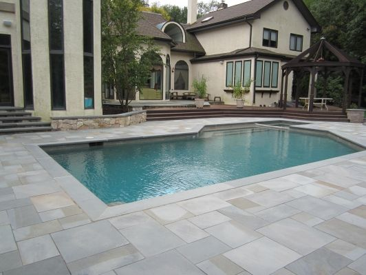 Pool w paver surround disabatino pool home and garden for Swimming pool surrounds design