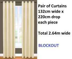 Brand new pair of curtains, each curtain 132 cm wide x 220 cm drop with eyelet top colour latte cream.