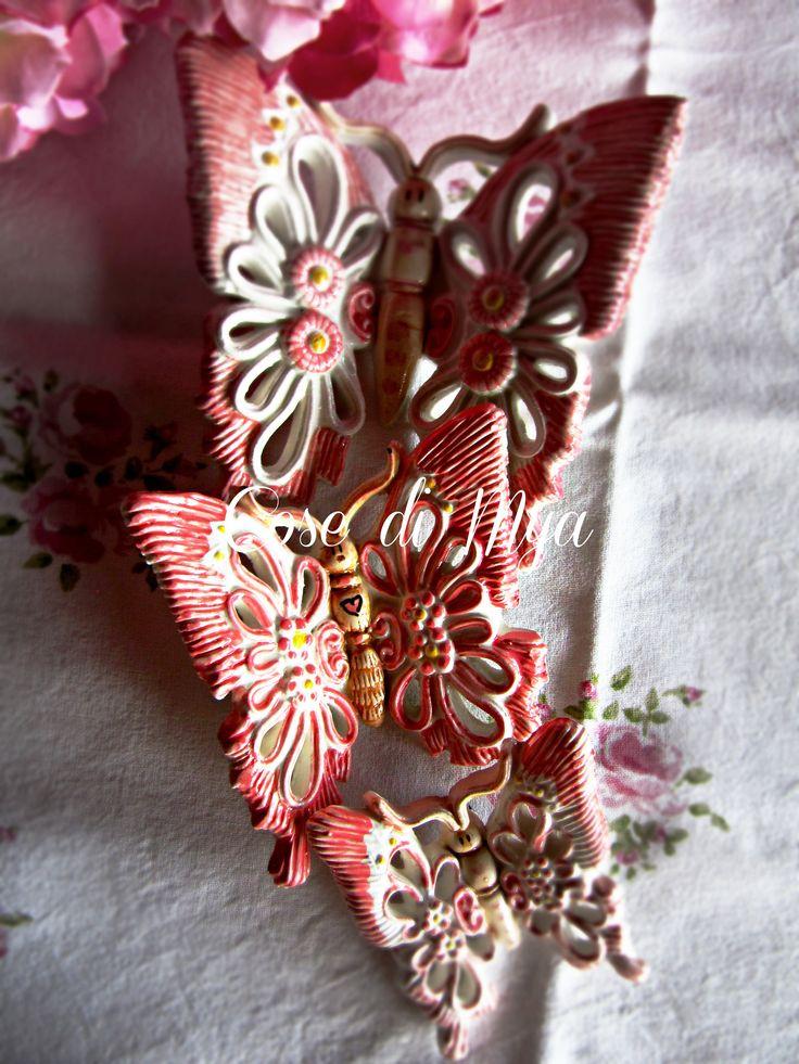 Trio di Farfalle in ceramica realizzate e decorate a mano di COSEDIMYA su Etsy
