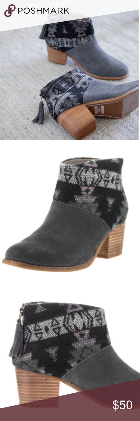 • Toms • Lelia Tribal Print Ankle Booties Gray - Toms - Lelia Ankle Heel Booties - Forged Iron Gray / Tribal Wool - Black / Gray - 7.5  - New without Box Toms Shoes Ankle Boots & Booties