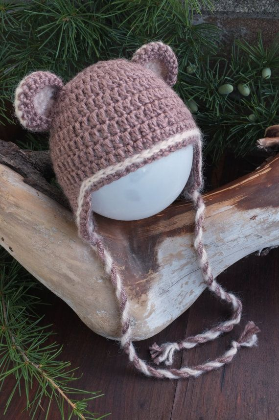 Teddy Bear Toddler Baby Crochet Hat Ears Hat  Bear by milazshop