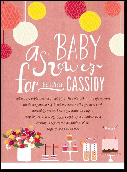 Precious Party:: Coral Baby Shower Invitations