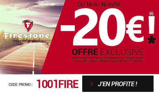 Jusqu'au 16 avril, profitez de 5€ de remise immédiate(6) par pneu sur votre commande de pneumatiques FIRESTONE. Soit 20€ de réduction pour quatre pneus FIRESTONE achetés (hors pack jantes). A partir de 15 pouces et plus. Pour en bénéficier, rentrez le code promo : 1001FIRE sur votre page panier !