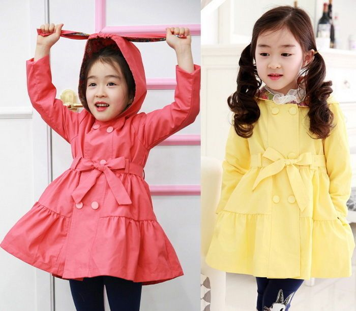 Girls Trench Coat Wind Jacket 2-7Y Dress Kids Clothes Rabbit Hoodies Outwear New