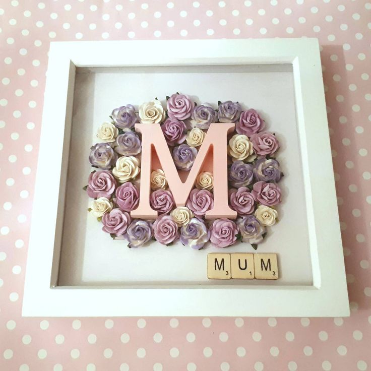 "Personalised Initial and Rose Keepsake Frame in 8"" x 8"" Box Frame - Occasion/Gift/Nursery/Keepsake F04 by ArtyCraftyMama on Etsy"