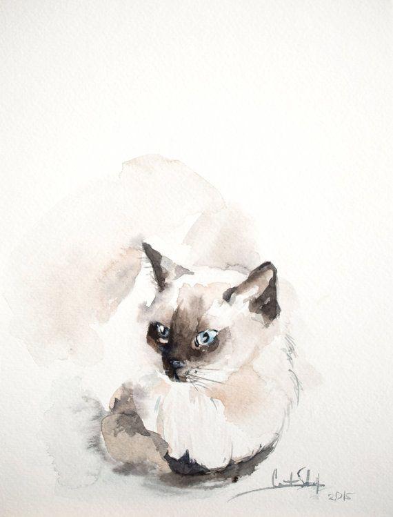 Siamese kat origineel aquarel schilderij met kat door CanotStop
