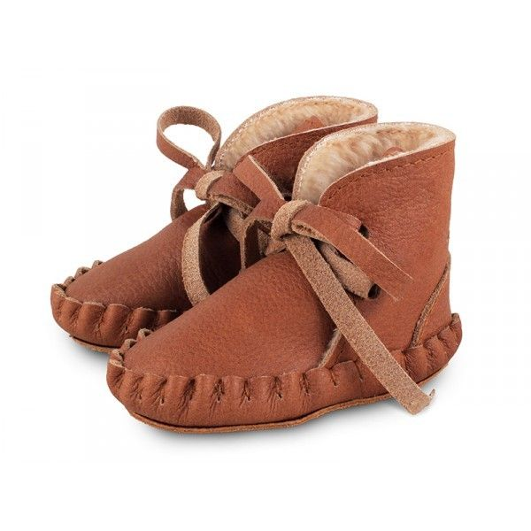 Pina lace-up booties lining - Cognac