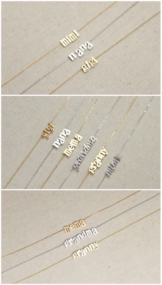 What a GREAT grandma gift idea. (Or a darling way to announce your first pregnancy to your mom!!!) Necklaces from Little Miss Lilyan {aff}