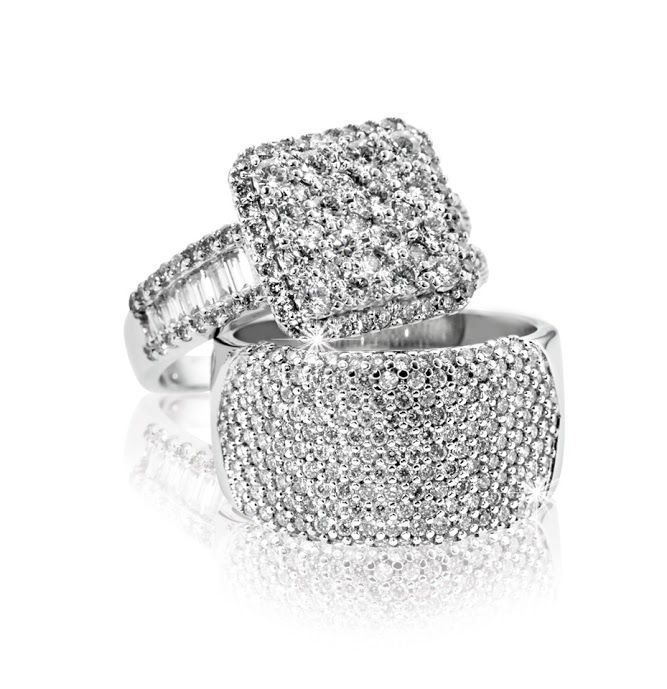 18ct White Gold Baguette & Square Cluster Ring R26,000 (top) and Broad Diamond Ring R24,990 (bottom)  *Prices Valid Until 25 Dec 2013