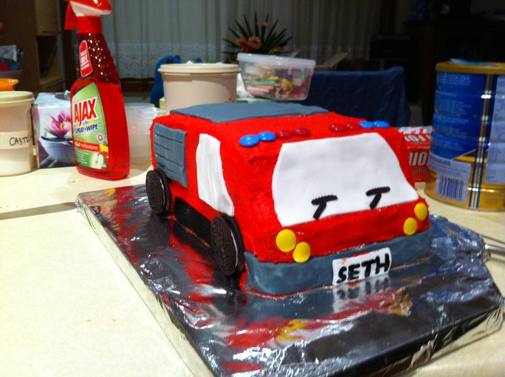 Fire engine cake for Seth