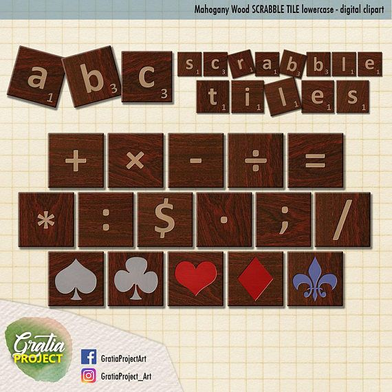 Scrabble Tiles  Mahogany wood Letters Clip Art ABC lowercase