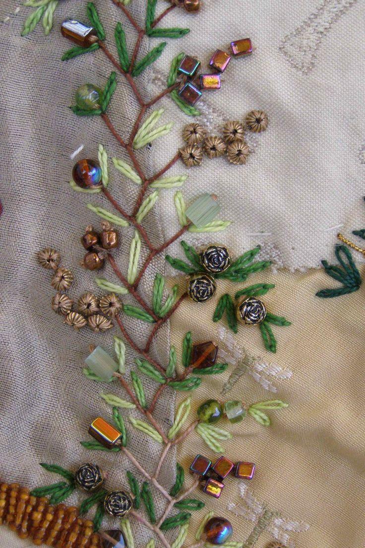 Crazy Quilt. Detalle. Bordado a mano por Carolina Gana. Taller de Bordado Rococó. Santiago de Chile.