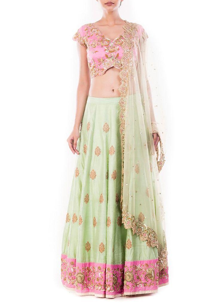 Mint Green N Pink Umbrella Lehenga Choli