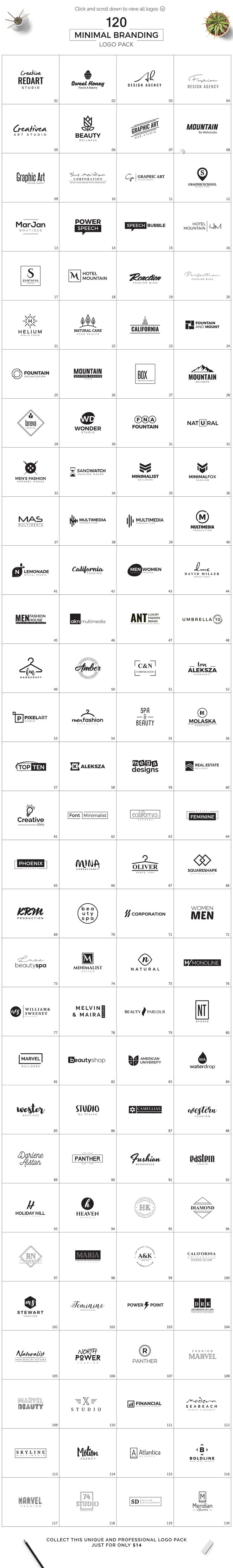 120 Minimal Branding Logo Pack by XpertgraphicD on @creativemarket