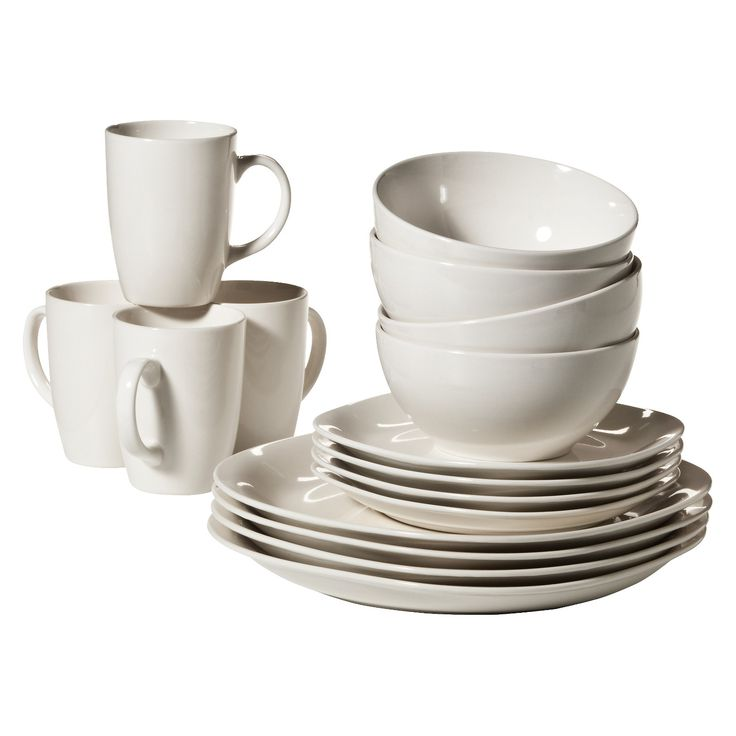 "The Quadro 16-piece dinnerware set has 4 pieces each of the 10.5"" dinner plates, 8"" salad plates, 6"" soup bowls and 3.25"" cups. Each piece of this stoneware dinner set has a glazed finish that adds to its looks. The soft cream color complements most dining table settings. These dinnerware pieces are microwave safe and can be used for reheating food. The plates, bowls and cups are all dishwasher safe."