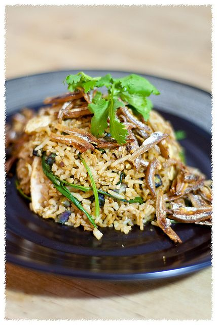 Malaysian Nasi Goreng Kampung or literally translates to Village-style Fried Rice by psilovetocook.com | Easy Asian Recipes. Key ingredients include Crispy Anchovies and Kangkung (water convolvulus)