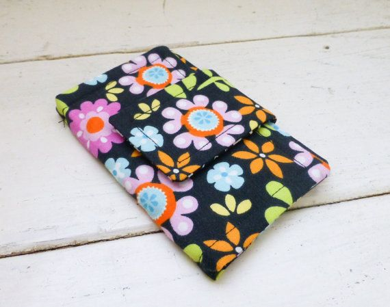 Fabric Wallet women's wallet business card holder velcro or snap closure ready to ship black wallet floral print cute accessory