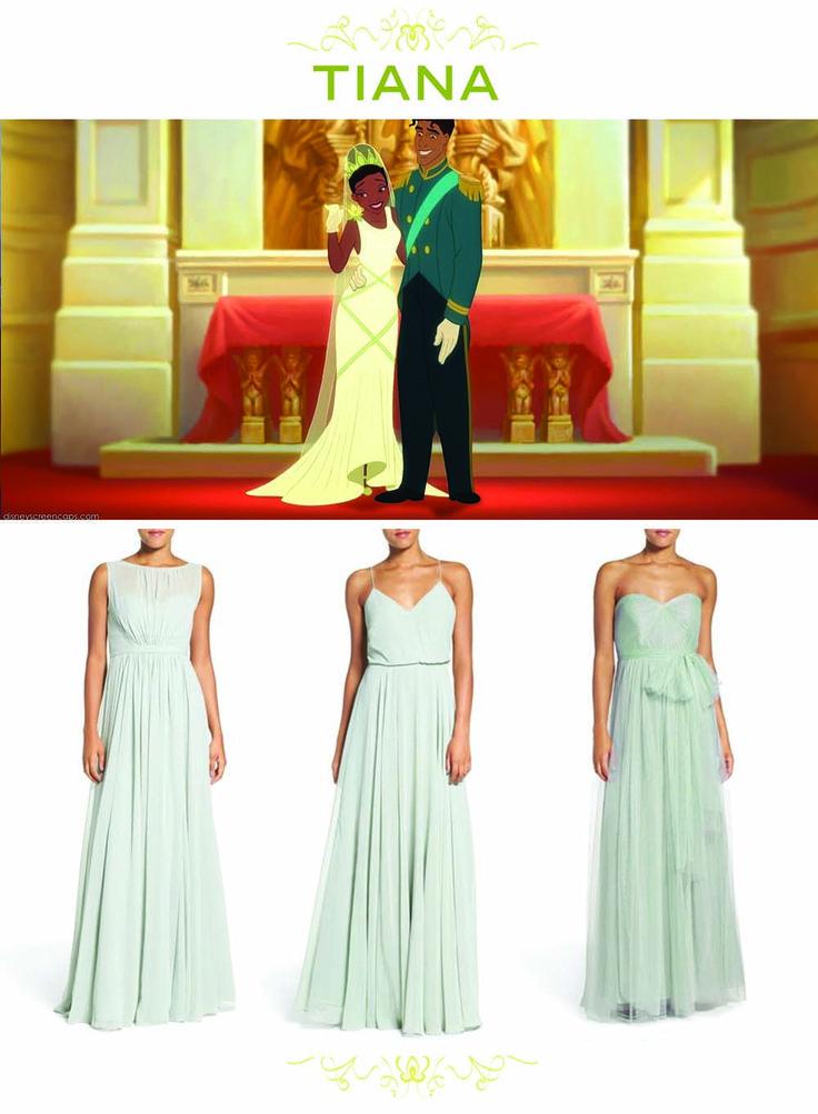 6 Bridesmaid Sets Inspired By Disney Weddings | Tiana + Princess and the Frog-inspired green bridesmaids dresses | [ http://di.sn/6000BfnIK ]