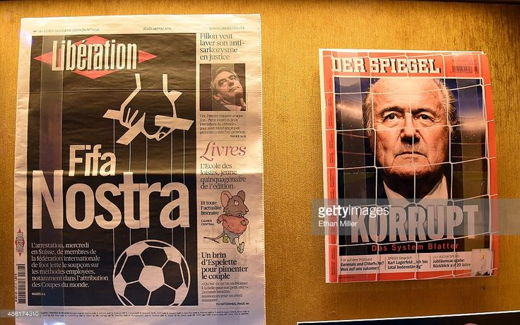 A newspaper and magazine cover are shown during the unveiling of 'The 'Beautiful Game' Turns Ugly,' a display at The Mob Museum chronicling the FIFA corruption scandal on September 1, 2015 in Las Vegas, Nevada. In May, the U.S. Department of Justice announced organized-crime charges against officials and others associated with FIFA, soccer's world governing body.