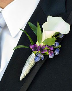 Calla Lily Boutonniere. Hadn't thought of this one before  My comment: love this but switch the wrap of fabric at the bottom to lace. Also switch out the purple flowers for pink