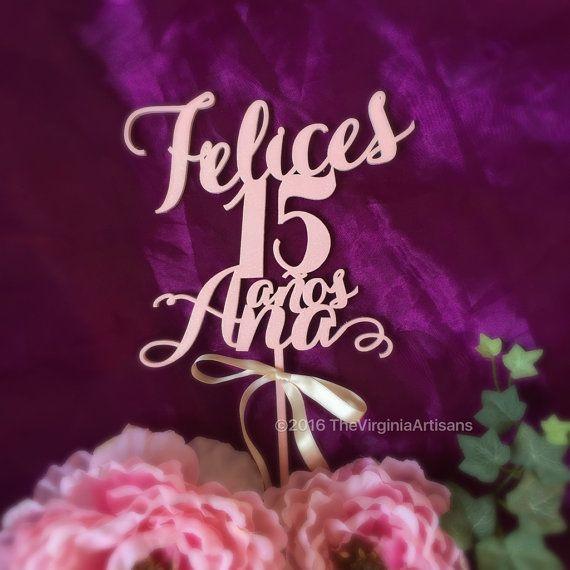 Quinceañera+Cake+Topper.+Felices+15+Custom+by+TheVirginiaArtisans