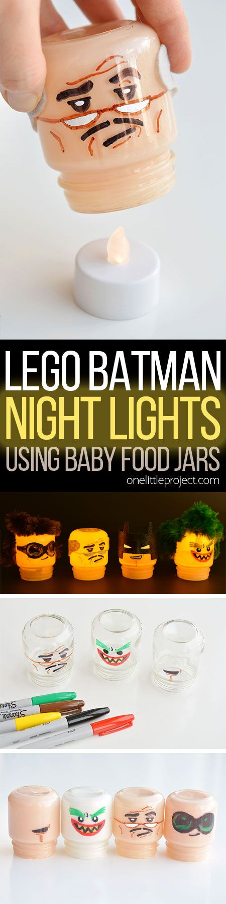 Baby food jars are the exact same shape as LEGO heads!!! Just draw on the faces and paint the jars! These Lego Batman night lights are SO CUTE! What a fun little project!