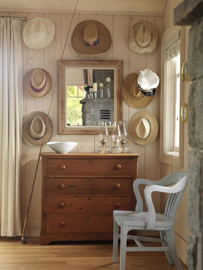 Decorating with Hats: Dining Rooms, Sarah Richardson, Cowboys Hats, Idea, Chairs, Lakes Houses, Straws Hats, Dressers, Chest Of Drawers