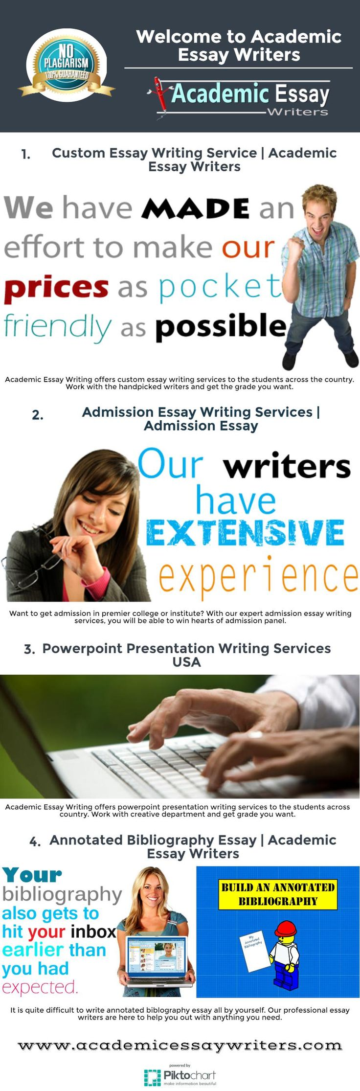 Professional Essay Writing Services offers custom essays, research papers, thesis papers, reports, audits, speeches and dissertations of unrivaled quality composed without any preparation by exceptionally qualified academic writers.