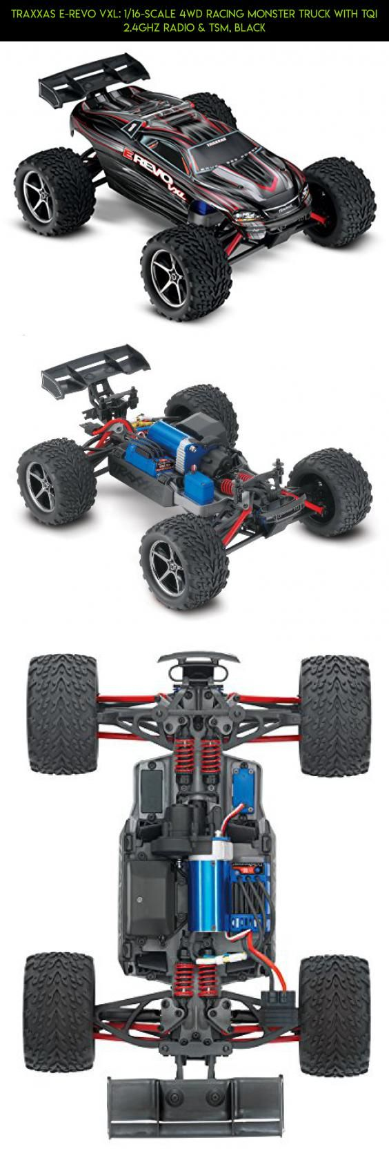 Traxxas E-Revo VXL: 1/16-Scale 4WD Racing Monster Truck with TQi 2.4GHz Radio & TSM, Black #traxxas #oil #tech #plans #parts #gadgets #products #shopping #camera #racing #kit #fpv #technology #drone