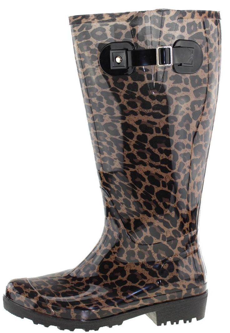 Wide Wellies Beige Leopard Wellington boots with XL Wide Shaft