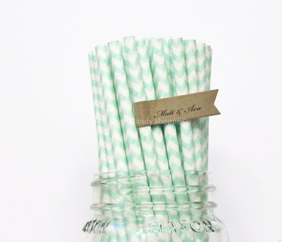 Mint Green Paper Straws, 25 Mint Chevron Paper Straws, Wedding Table Setting, Pink Mint Baby Shower, Kids Birthday Party, Made in USA, on Etsy, $3.99