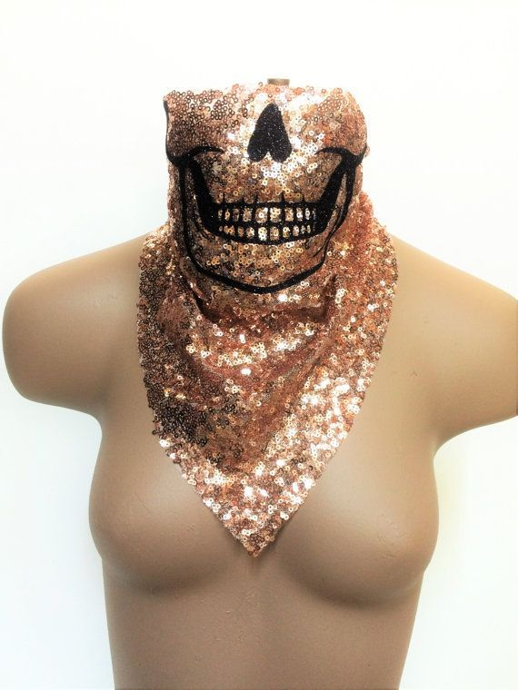 Glitter Skull Bandana, Festival Clothing, Rave Clothing, Burning Man Clothing, Skull Costume, EDM Costume, Gypsy Clothing, EDM Bandana Beautiful beautiful beautiful!! This badass glitz glitter skull bandana looks AWESOME with natural skin, bras, shirts, etc. Perfect to keep unwanted dust and smoke out. Great for photo shoots, festivals, rallies and club wear! You will stand out at your festival GUARANTEED! Hand wash and hang dry. BurningBabeClothingCo.  #burningbabe
