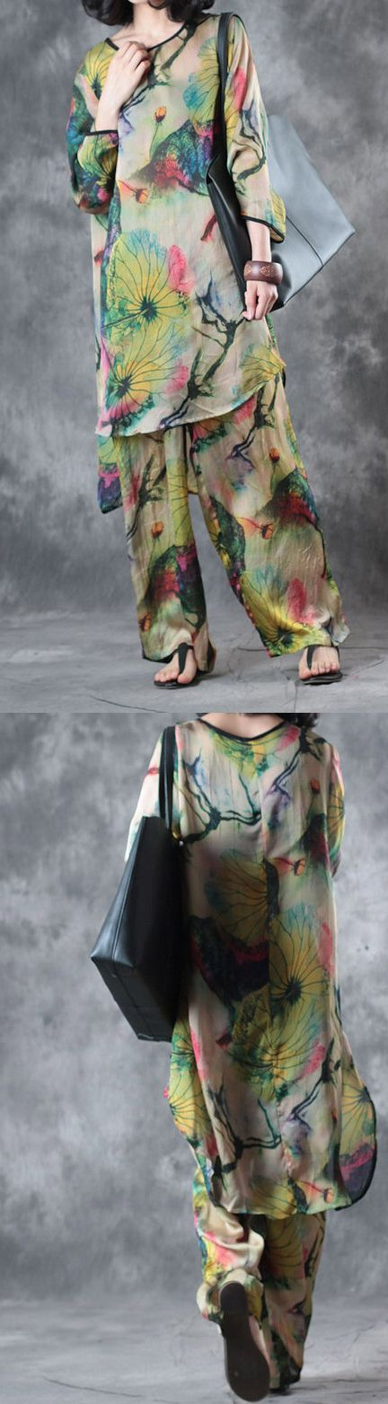 green casual prints silk tops and vintage loose wide  leg pant two pieces