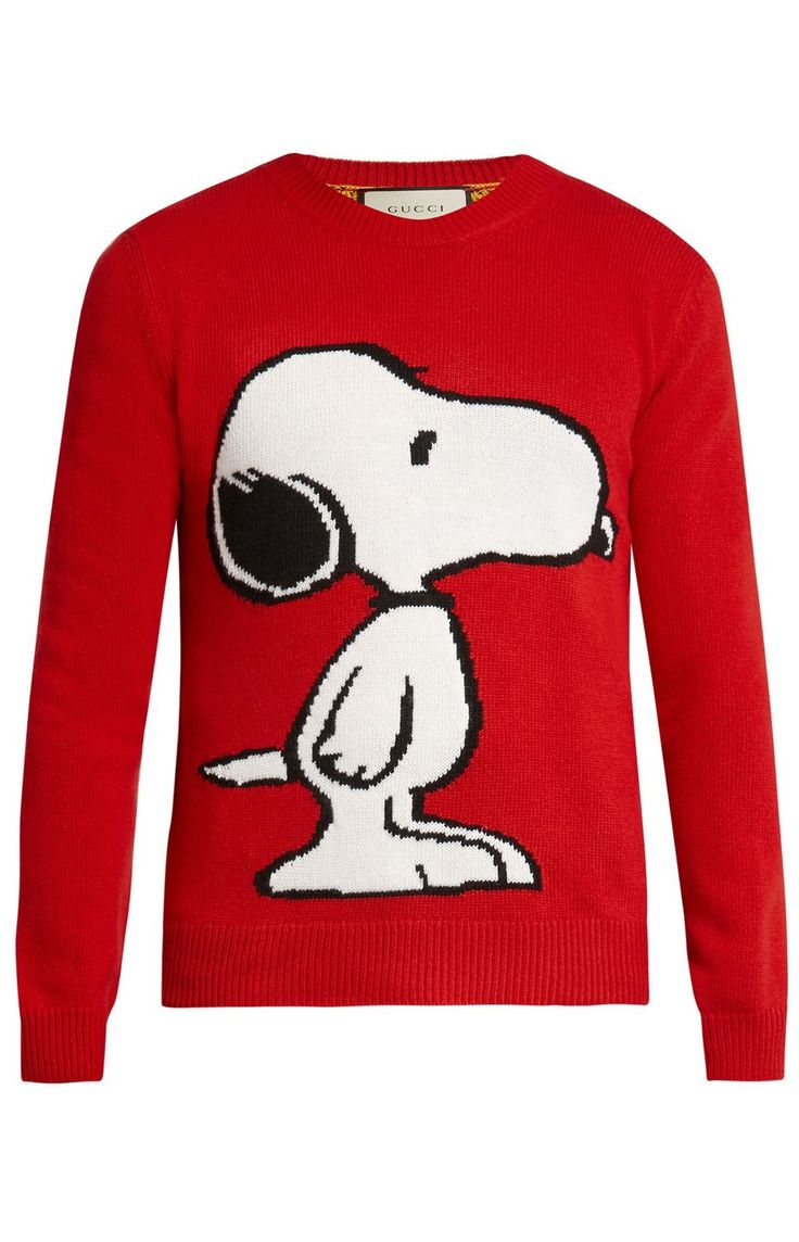 Gucci Snoopy Tiger Stripe Sweater Pullover Men's Wool Knit Sweatshirt
